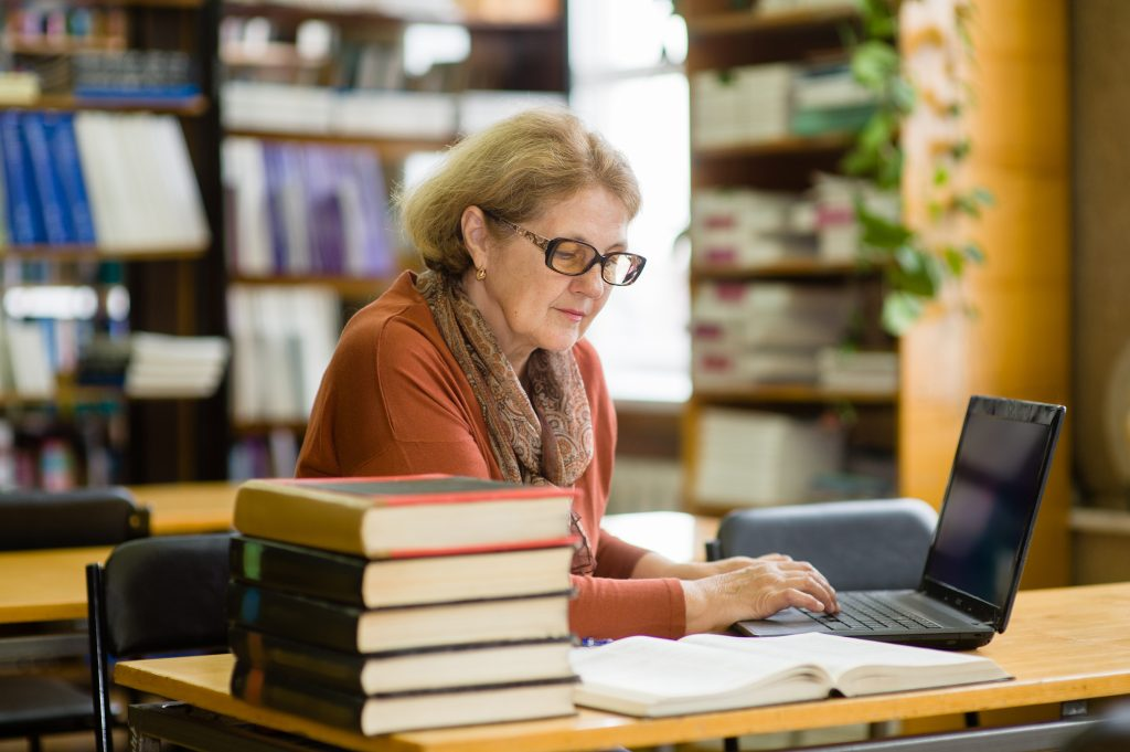 Senior Woman in the Library
